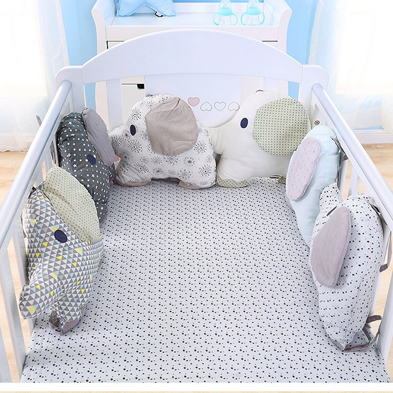6PCS/Set Cotton Animal Elephant Baby Crib Bumpers Soft Infant Bed Around Protection Flex ...