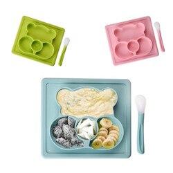 Ideacherry bebês placa de silicone criativo dos desenhos animados pratos alimentação esteira placemat para infantil com colher forte sucção bpa livre bandeja