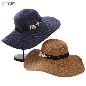 SUOGRY High Quality Summer Sun Hats for Women Solid Large Brimmed Black White Floppy with Pearls Ladies Beach Hat