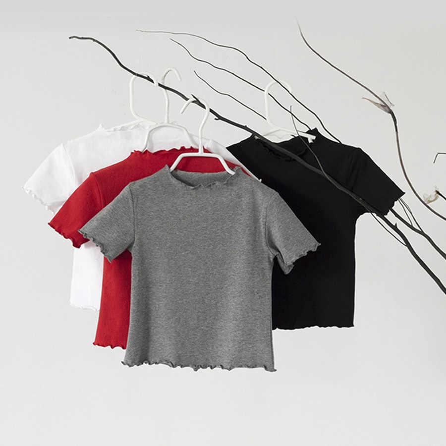 ยี่ห้อ GirlsTops เด็กแขนสั้นสีทึบสีขาวสีดำสีแดงสีเทาเสื้อยืดเด็กผู้หญิง tshirt ฤดูร้อน 2019 สบายๆ tshirt เด็ก