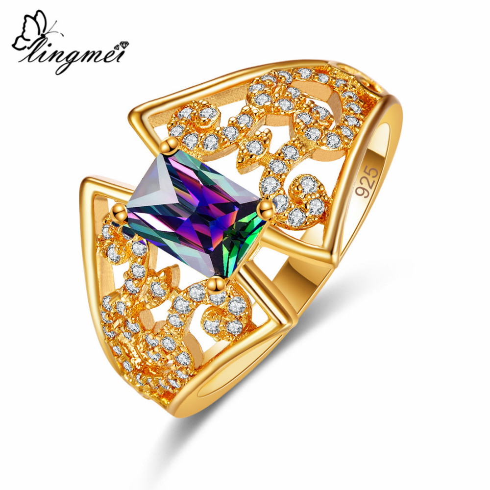 Lingmei New Arrival Party Estate Luxury Fashion Multicolor White Green Zircon Silveer Yellow Goldplated Ring Size 6 7 8 9 in Rings from Jewelry Accessories