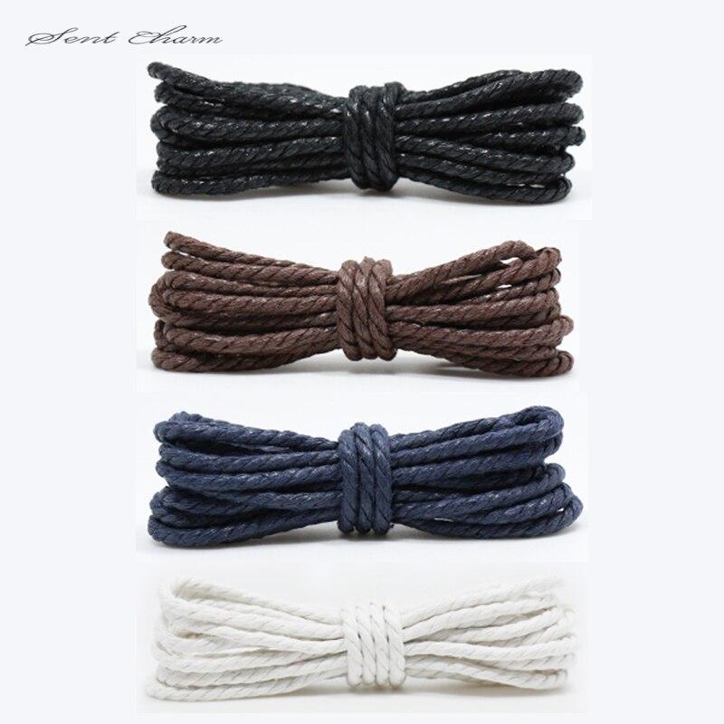 Cotton High Quality Shoelaces Leather Shoes Laces Round Shape Fine Rope Men Flat Shoes 4 Colors Fashion