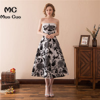 2018 New Arrival Strapless Prom Dresses for Women Tea Length Pattern Lace Up Back Vestidos de fiesta Formal Evening Dress