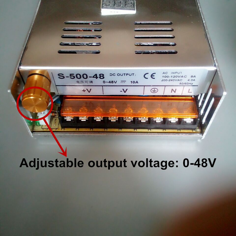 switching power supply 500W output voltag adjustable 0- 48V 10A switching power supply AC to DC for LED strip light (S-500-48) single output uninterruptible adjustable 24v 150w switching power supply unit 110v 240vac to dc smps for led strip light cnc