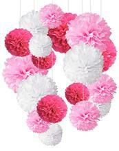 18Pcs/Set Pink Purple Tissue Paper Pompoms Pom Poms Flower Handmade Wedding Party Decorations Baby Shower Festival