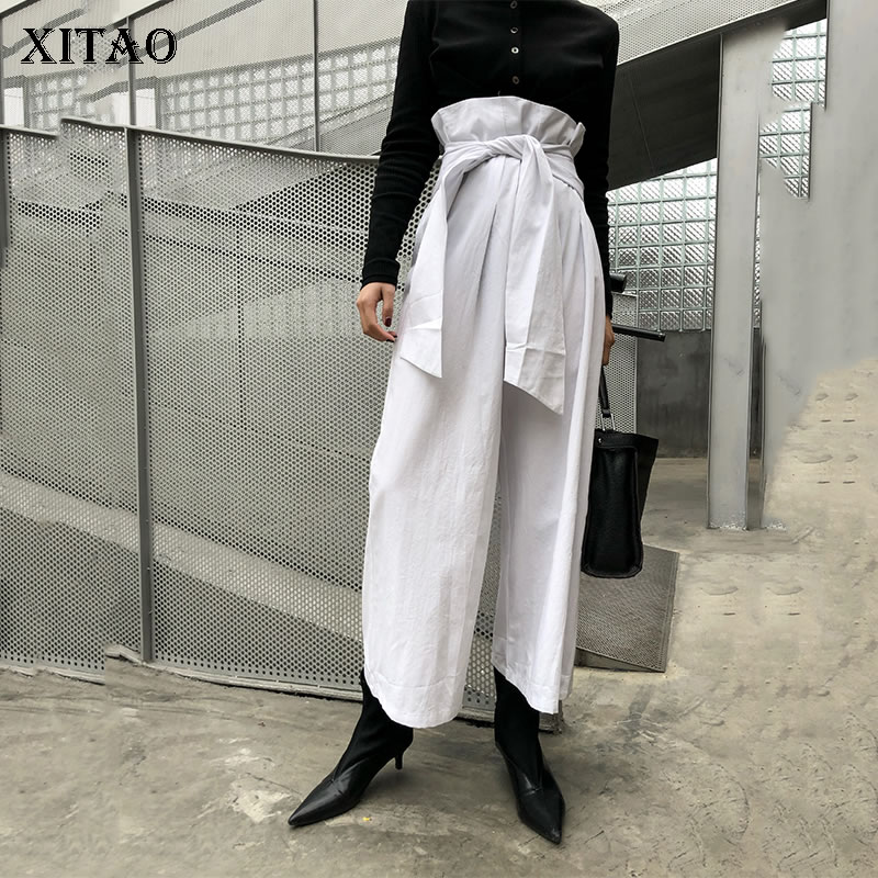 [XITAO] New Women Fashion 2019 Spring Summer Solid Color Loose   Wide     Leg     Pants   Female Bandage Pleated Full Length   Pants   DLL2171