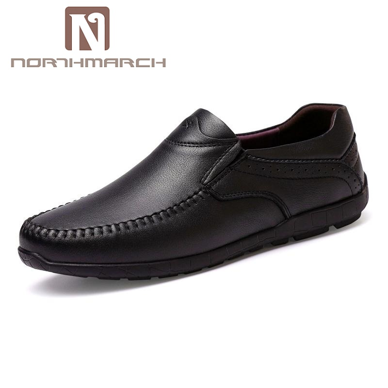 NORTHMARCH Men's Casual Driving Shoes Slip-On Loafers Male Genuine Leather Shoes Soft Comfort Moccasins Flats Men Shoes Footwear black real leather 2017 mules summer brown european loafers men genuine shoes moccasins half male casual slip ons hot sale