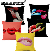 Geometric Lips black Pillow Case 45*45cm sexy kiss Throw Pillowcase Home Sofa Decoration Cushion Cover