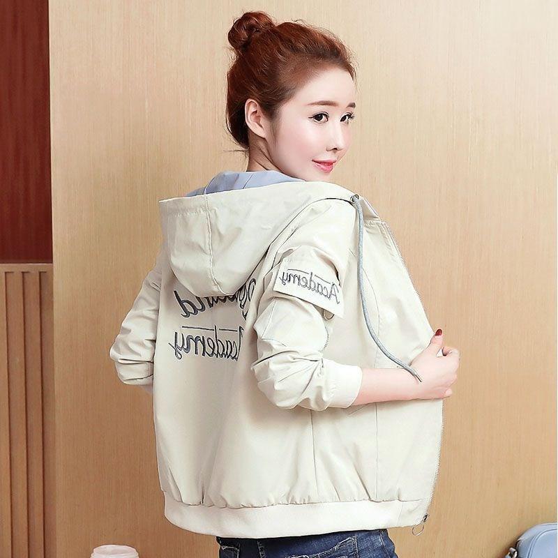 2019 Women Spring autumn jacket Casual Hooded Print Baseball Jackets Female Fashion embroidery Over Coat Women's Short parkas 65