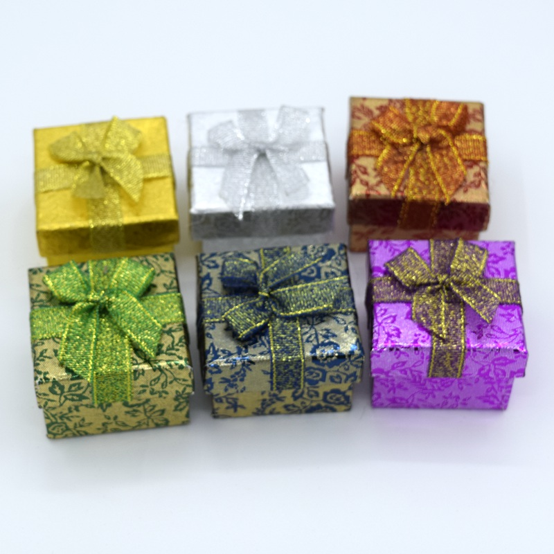 New 12PC 4.3*4.3*3.3cm Ribbon bow Jewery Organizer Box Rings Storage Cute Box Small Gift ...