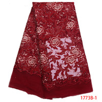 Swiss voile lace fabric Red color African Nigerian high quality French lace stones embroidered tulle/net/mesh dress XZ1773B 1