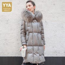 Winter Warm Genuine Leather Duck Down Coat Long Real Raccoon Fur Hooded Trench Coat Windbreaker Real Sheepskin Leather Outwear(China)