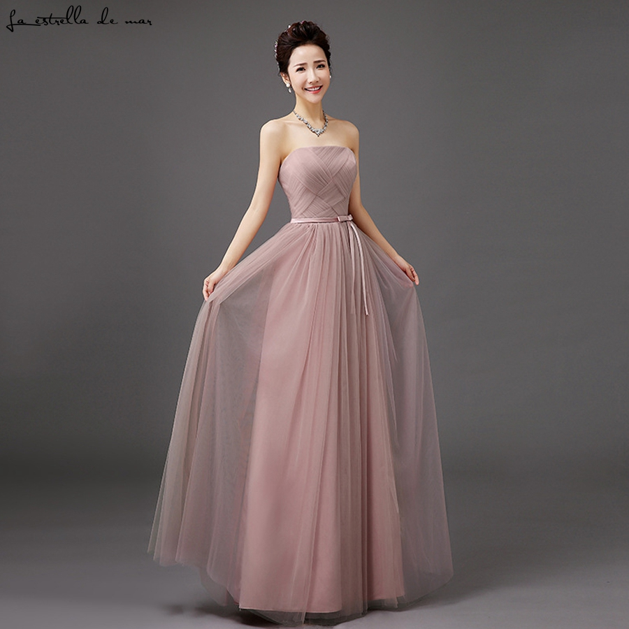 Vestido madrinha 2019 new Tulle Strapless champagne silver grey sky blue blush light purple   bridesmaid     dresses   long cheap