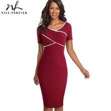 Ładny zawsze elegancka Vintage Patchwork praca vestidos Business Party Bodycon biuro obcisła damska sukienka B519