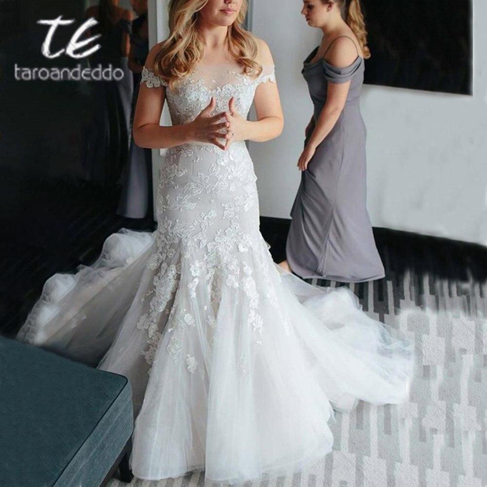 Cathedral Length Train Wedding Gowns: Off Shoulder Tulle Wedding Dresses Applique Floor Length