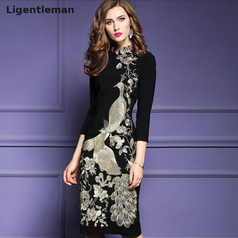 2019 printemps femmes robe fleur oiseau doré broderie Style chinois noir Slim dames genou longueur robes femme Cheongsam