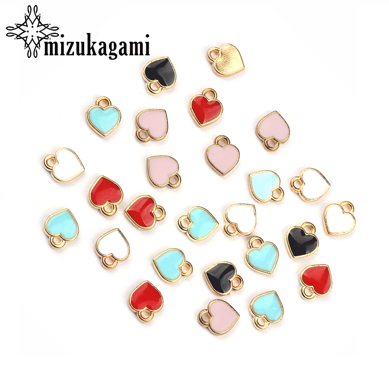 50pcs 8mm Zinc Alloy Enamel Charms Mini Sweet Heart Charms For DIY Necklaces Bracelets Jewelry Accessories(China)