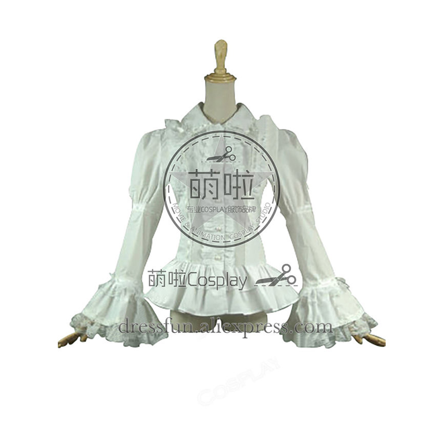 Victorian Lolita Reenactment Lace Ruffle Blouse Gothic Lolita Dress With Cloak Decorated Cool Fast Fashion For Halloween Party
