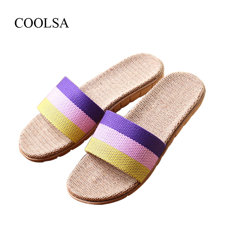 COOLSA Brand Women's Linen Slippers Summer Indoor Striped Flax Slippers Women's Non-slip Indoor Slippers Zapatos De Lino Hot coolsa women s summer flat non slip linen slippers indoor breathable flip flops women s brand stripe flax slippers women slides