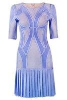 Высочайшее качество Для женщин Сексуальная Половина рукава кисточкой жаккардовые синий розовый Ню облегающее Бандажное платье l 296