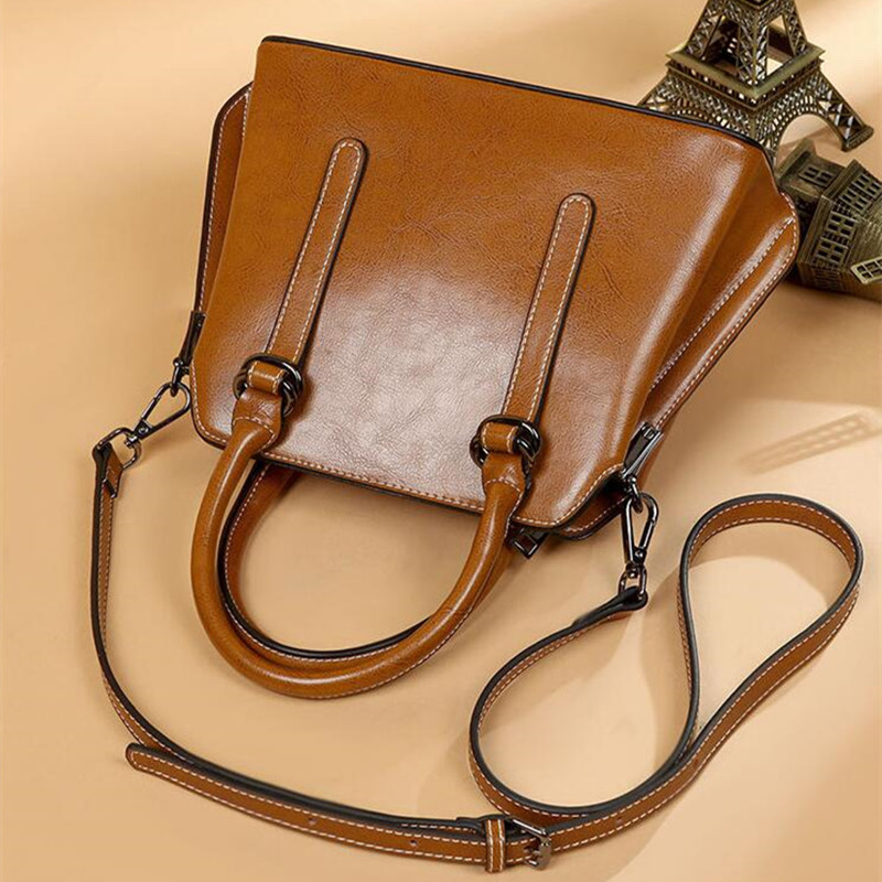 luxury Genuine Leather Handbags Cowhide women's bag Women Messenger Crossbody Bag Female Fashion Shoulder Bags for women 2019-in Top-Handle Bags from Luggage & Bags    3