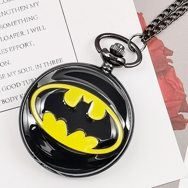Cool Gifts For Children Kids Boys Batman Bat Carving Quartz Pocket Watches Dark Black Fob Watch Necklace Pendent With Chain