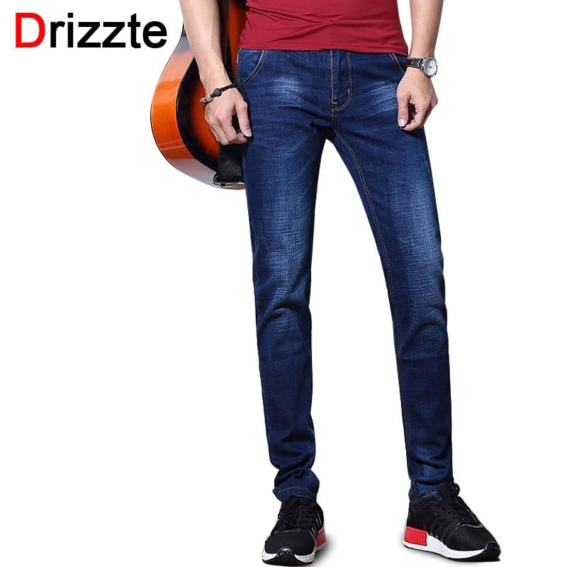 Drizzte Fashion Mens Jeans Summer Stretch Blue Thin Denim Men Slim Fit Jeans Size 30 32 34 35 36 38 Pants Jean