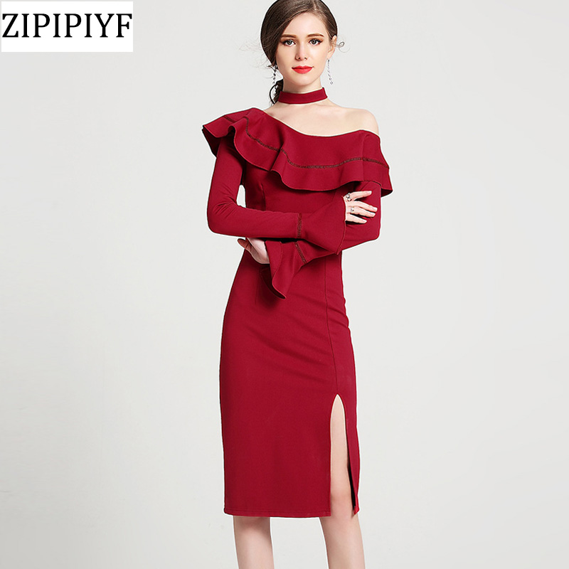 Women Sexy Bandage Dress 2018 Spring New Arrive red Halter Long Sleeve Split Celebrity Evening Party Dresses Casual Vestidos цена