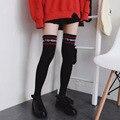 1 Par Preto Mulheres Botas de Inverno Da Moda Manguito Meias Outono Palavra vermelho Vetements Senhoras Algodão Longo Do Joelho Alta Meias Sexy meias