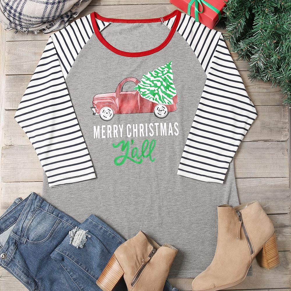 Plus Size Women T Shirt Merry Christmas Y All Striped Letter Print