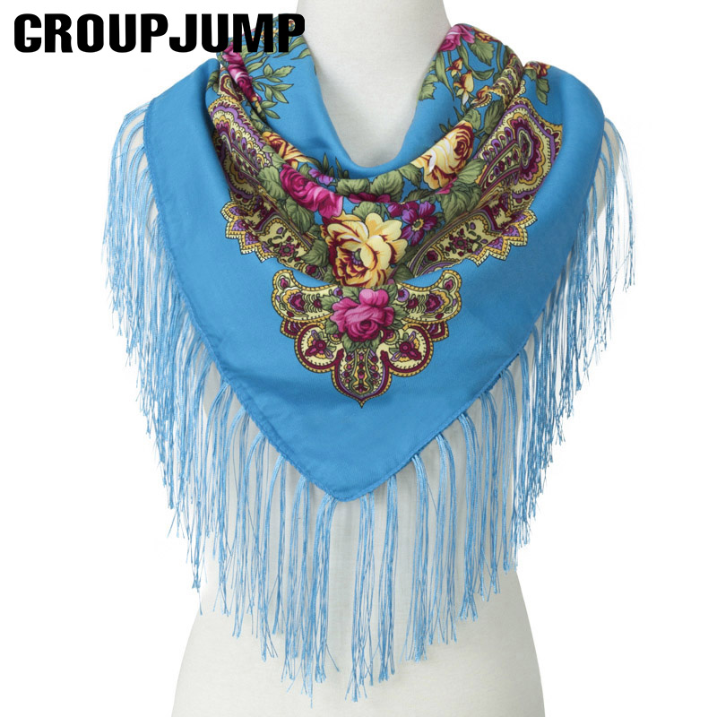 GROUPJUMP Square Floral Women Tassel Shawl Scarves