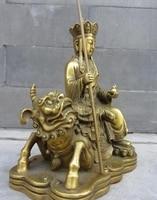 Tibet Temple Brass Copper Ride Lion Jizo arhat Lohan Buddhist monk Buddha Statue