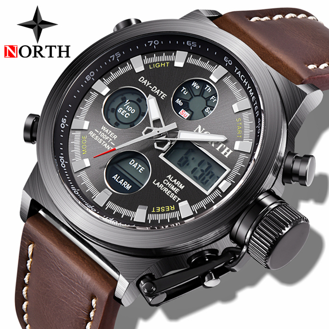 NORTH Fashion Brand Men Watches Quartz Digital Analog Watch Men Casual Military Sport LED Electronic Wrist Watch for Men Husband