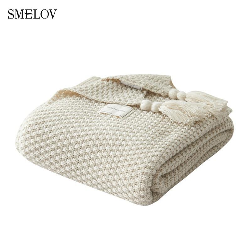 Solide fil jeter couverture laine armure gland châle couverture maison bureau canapé-lit couvre-lits sieste dormir pondéré couverture 130*170
