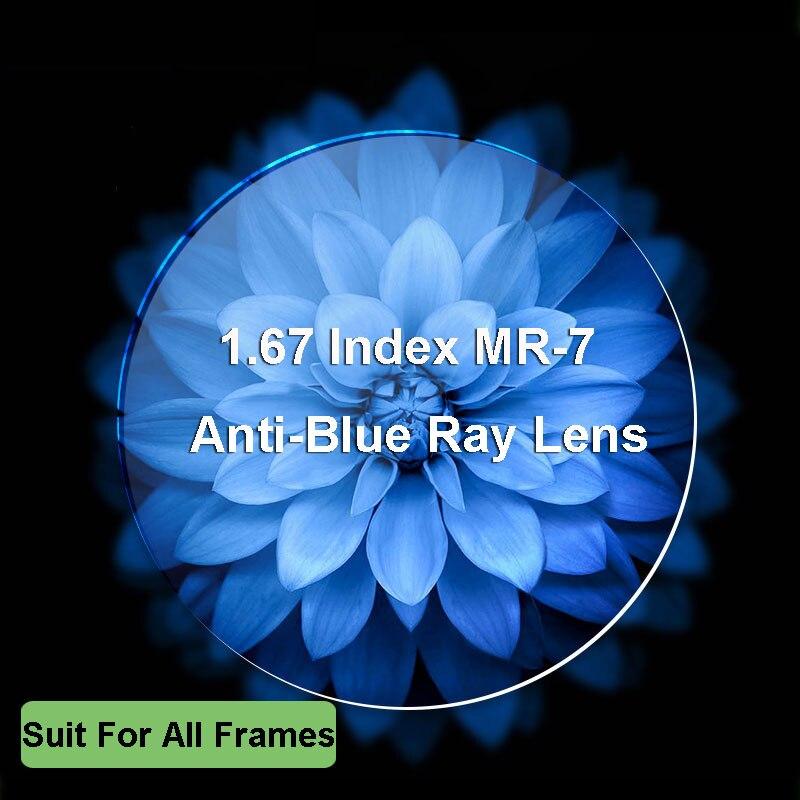 1.67 lentilles de blocage de la lumière bleue Ultra-mince à indice élevé lentille optique de Prescription myopie à Vision unique pour la Protection des yeux