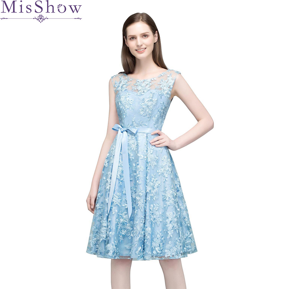 In stock Elegant Sky Blue   Prom     Dresses   2019 A-Line Sexy   Prom     Dress   Short Embroidery Knee-Length Graduation Party Gowns With Sash