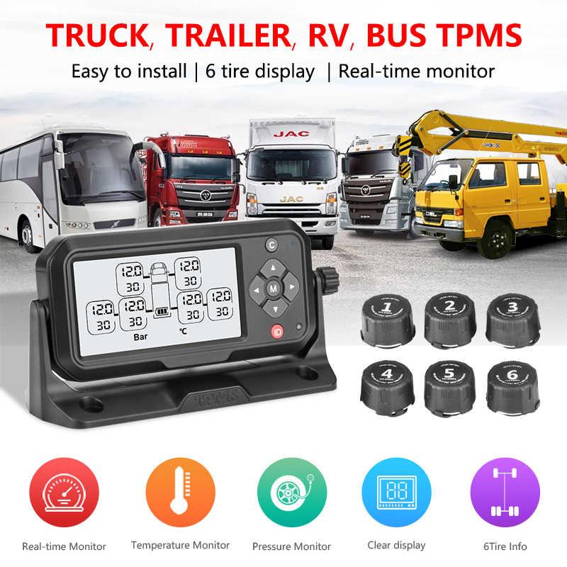 משאית TPMS צמיג לחץ ניטור מערכת רכב צמיג כישלון מנגנון מעורר 6 חיצוני חיישני צמיגים חריגה טמפרטורה