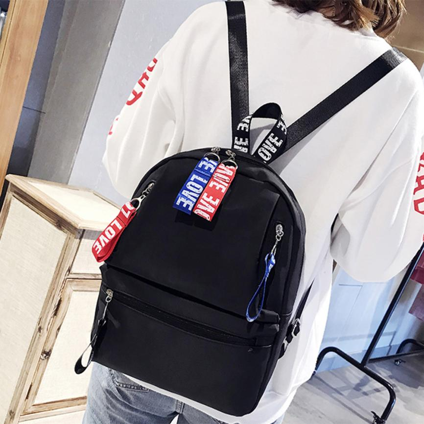 New arrival Women Fashion Ribbon Decoration Zipper Shoulder Bags Backpack Travel Rucksack SchoolBag Backpack Mochila feminina