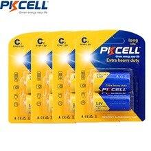 8 шт./4 карты PKCELL 1,5 V угольно-Цинковый элемент R14, UM2, MN1400 музыкальная шкатулка для плюшевых игрушек, игры, радио, R14P UM2 Batteria C батареи