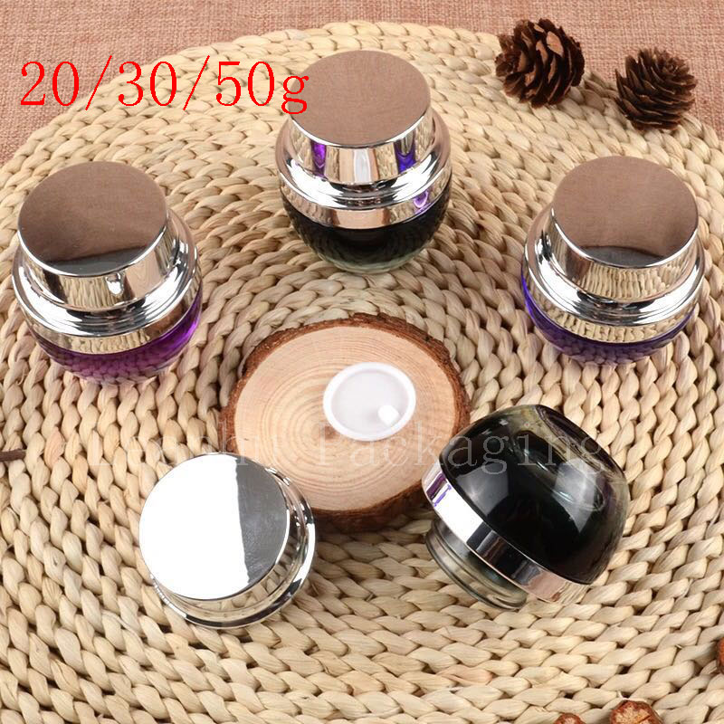 20g 30g 50g Colored Glass Bottles Eye Cream Pot Empty Cosmetic Container Jar Make Up Glass Jars With Silver Screw Cap Purple wholesale 100 pcs 5ml small glass vials with cork tops bottles little empty jars 22 30mm free shipping