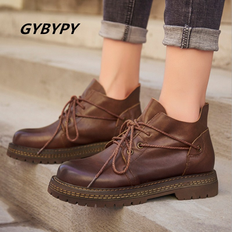 New boots female autumn Booties casual wild leather lace up low heel cow leather shoes hot