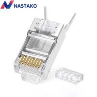 NASTAKO Cat6a Cat7 RJ45 Connectors Cat 7 RJ45 Plugs Shielded FTP 8P8C Network Ethernet Cable Crimp