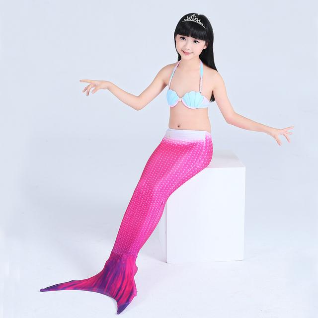 2017 New Girls Mermaid Tail Swimmable Monofin Bikini Set Swimwear Swimsuit Swimming Mermaid Tail Costume For Children
