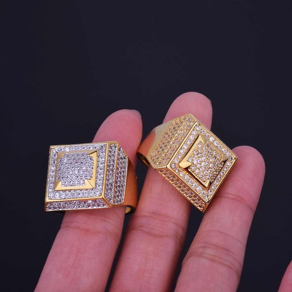 ใหม่ Bling Bling ผู้ชาย Zircon แหวนทองเงินทองแดงวัสดุเย็นเต็มรูปแบบ CZ Hip hop แหวนแฟชั่นเครื่องประดับ HIP - HOP ขนาด 7-12