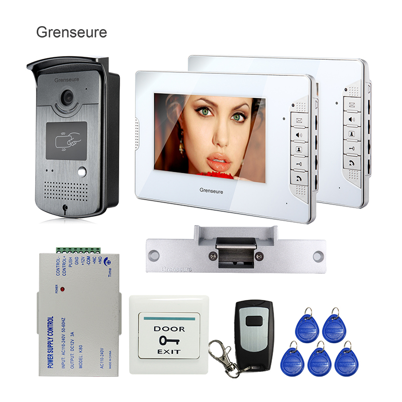 FREE SHIPPING NEW 7 Video Intercom Home Door Phone System 2 White Monitor 1 HD ID Reader Camera Electric Strike Lock Wholesale free shipping brand 7 home video intercom door phone recoder system 2 monitor rfid card reader door intercom camera wholesale