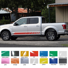 цены free shipping 2 PC OFF ROAD gradient side stripe graphic Vinyl sticker for ford f150 super crew 5 1/2 box or raptor