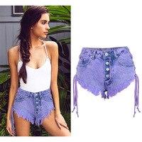 Sexy Shorts Solid Tassel Women Both Side Tie Denim Shorts Macaron Purple High Waist Mini Short Jeans