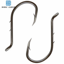 Easy Catch 200pcs 8299 Fishing Hooks Black Offset Barbed Shank Baitholder Bait Fishing Hook Size 1 2 3 4 1/0 2/0 3/0 4/0 5/0 6/0
