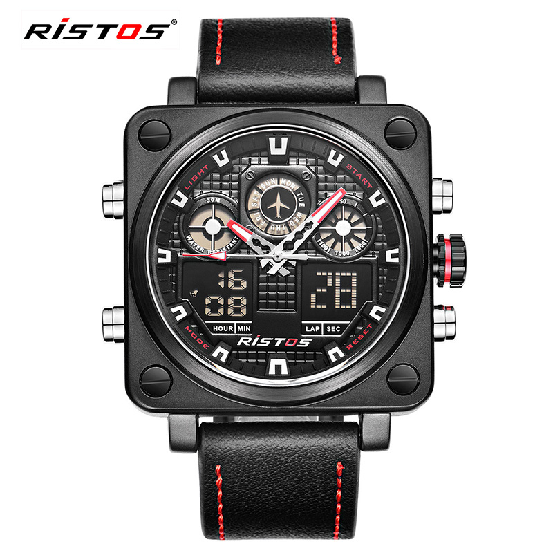RISTOS Multiple Time Zone Men Watch Top Brand Luxury Sport Square Quartz LED Watches New Fashion Army Genuine Leather Wristwatch