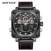 Ristos متعددة المنطقة الزمنية ووتش top ماركة فاخرة جيش الرياضة ساحة كوارتز led الساعات الموضة جلد طبيعي اليد